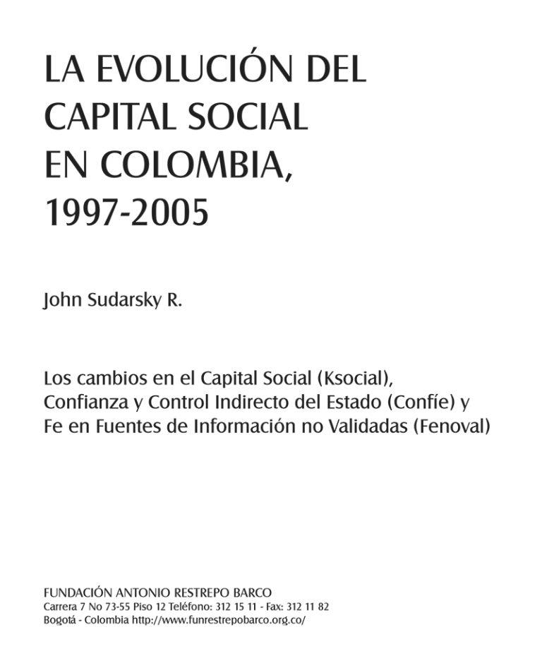 LA EVOLUCION DEL CAPITAL SOCIAL EN COLOMBIA